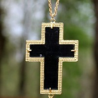 Long Black Cross Tassel Necklace