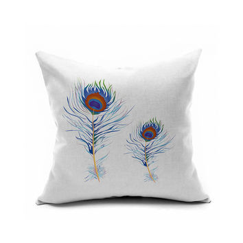 Peacock Feather Pattern Print Cotton Linen Cushion Strong Character Linen A4 Size Cushion Cover [6451669894]