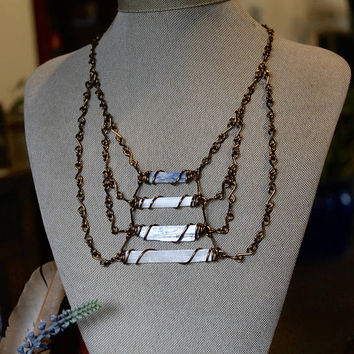 Kyanite & Selenite Necklace - Statement Necklace - Hippie Festival Fashion - Gypsy Jewelry - Stone Jewelry - Chest Plate - Collar Necklace