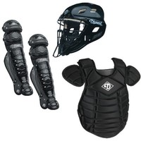 Diamond Baseball Catcher's Gear Set, Black, Adult