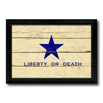 Liberty or Death Flag Goliad Texas Battle Independence Military Flag Vintage Canvas Print with Black Picture Frame Home Decor Wall Art Decoration Gift Ideas