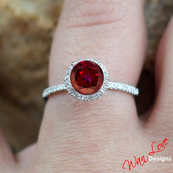 Ruby & Diamond Round Halo Engagement Ring 1ct 6mm w14k 18k White Yellow Rose Gold-Platinum-Custom made your size-Wedding-Anniversary Classic