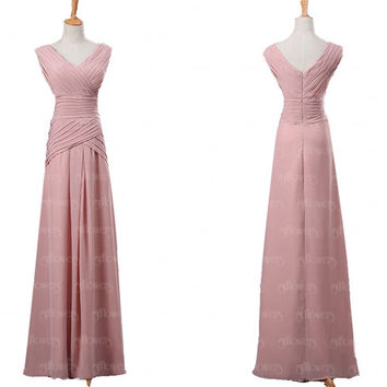 Dusty Pink bridesmaid dress, chiffon bridesmaid dress, Long bridesmaid dresses, cheap bridesmaid dresses, off shoulder bridesmaid dress