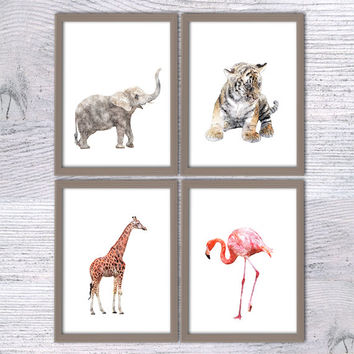 Baby animal Set of 4, Nursery poster, elephant, tiger, giraffe, flamingo, Safari animals, Animal Painting, Woodland decor, Kids room, V15
