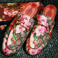 GUCCI Fashion Casual Print Flat bottomed single shoe sandals Red Flower G