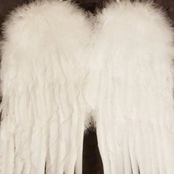 White Feather Angel Wings ~ 3 sizes  ~ Perfect for Wedding Flower Girl, Fairy Wings, Costume, Christmas.  Child & Adult Size Available