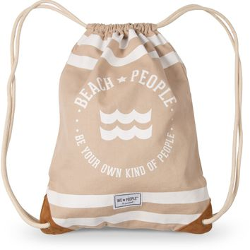 Beach People Canvas Unisex Drawstring Bag