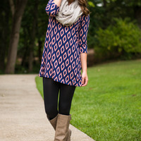Diamond Love Tunic, Blue/Peach