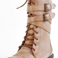 Diva Lounge Tina02 Camel Ankle Wrap Combat Boots shop Boots at MakeMeChic.com
