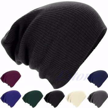 Men Women Knit Crochet Warm Oversize Slouchy Beanie Hat Hip-Hop Cap Stripe Skull