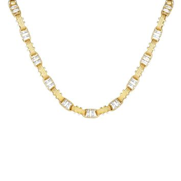 14K Yellow-White Gold Shiny+Ridged Fancy Double Bar Mariner Style Link Necklace with Lobster Clasp