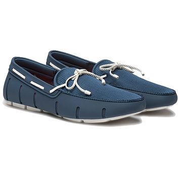Men's Water Resistant Braided Lace Loafer in Slate & White by SWIMS