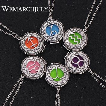 12 Constellations Jewelry with Silver Plated Virgo  Zodiac Sign Locket Essential Oil Diffuser Aroma Pendant Necklace for Women