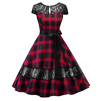 DRESS Women's 1950s Hepburn plaid lace with sash pin up rockabilly swing (2-Colors)