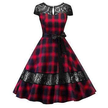 DRESS 1950s Hepburn dress English tartan checks plaid lace dress with sash pin up rockabilly swing flare dress robe (2-Colors)