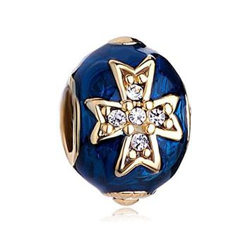 Charmed Craft New Enamel Celtic Cross Clear Crystal Easter Egg Charms beads Pandora Bracelets Compatible