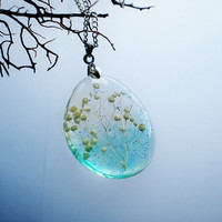 Snow Flower Necklace Christmas Costume Real Flower Jewellery Snowy White Turquoise Blue Transparent Nature Inspired