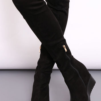 Jody Knee High Black Suede Wedge Heel Boots by Dolly Rocka