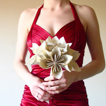 Paper flower bouquet Book origami bouquet by MarmotaCafeWeddings