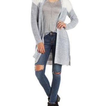 Marled Open Front Color Block Cardigan with Belt