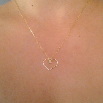 Gold heart necklace, Heart pendant, Dainty chain necklace, Gold filled chain necklace, Bridesmaid gift idea, Layering necklace, Minimalist
