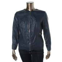 Charter Club Womens Plus Faux Leather Panel Jacket