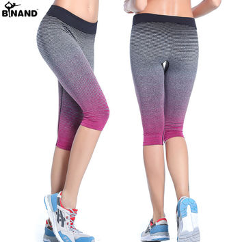 Stripe Tie-dyed Elastic sport pants Fitness 3/4 length