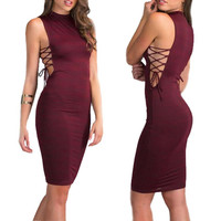 Women's Sleeveless Sexy Bandage Hollow Out Dresses Party Night Club Dress Vestidos Verano Mujer