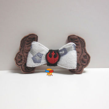 Space Princess Organa inspired 3D felt bow felt clippie physical item made to order