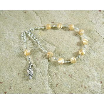 Freyja (Freya) Prayer Bead Bracelet in Mother of Pearl: Norse Goddess of Love, War, Passion, and Magic