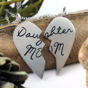 """Heart Necklace Mother Daughter Perfect gift Pendant Necklace Stainless Steel Set (2pcs) 18"""" Chains Included"""