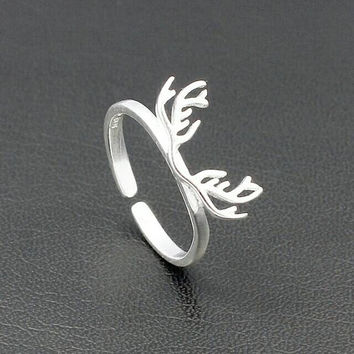 SALE!  Sterling Silver Ring - Minimalist Ring - Deer Antler Ring - Antler Ring - Statement Ring - Stackable Ring - Animal Ring - Deer Ring