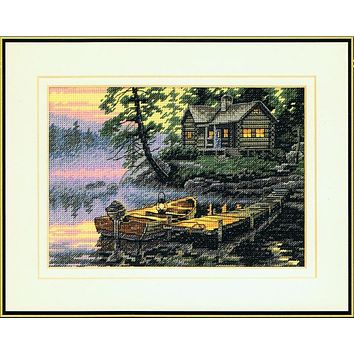 Top Quality Beautiful Lovely Counted Cross Stitch Kit Morning Lake Village Boat Vessel House Cottage Home dim 65091