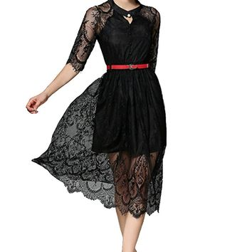 New Vestidos Sexy Boho Lace Crochet Hollow Out White Black Dress 2017 Summer Women Beach Party Bodycon Maxi Office Work Dresses