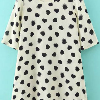 White Heart Shaped Printed Back Bow A-Line Dress