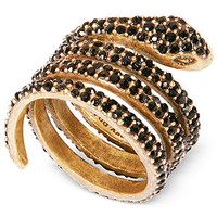Lucky Brand Gold-Tone Black Crystal Coiled Snake Ring