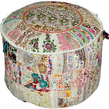 Round Floor Pillow floor Cushion Bohemian Patchwork floor cushion pouf ottoman Vintage Indian Foot Stool Bean Bag Floor Pillow pouf