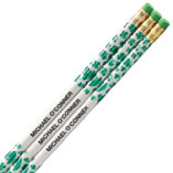 Personalized Shamrock Pencils, Set of 12