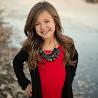 Girls Black Front Ruffle Cardigan