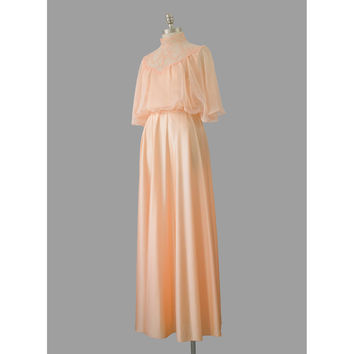 70s Evening Gown, Peach Jersey Chiffon Lace Goddess Dress, 1970s Long Formal Dress, High Collar Flutter Angel Sleeve Maxi Dress, Small XS S