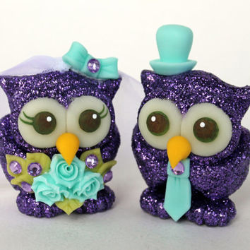 Glitter wedding owl cake topper, purple sparkly love birds, robin egg blue