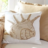 Caicos Shell Embroidered Pillow Covers