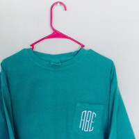 Monogrammed Pocket Tee Long Sleeve - Comfort Colors