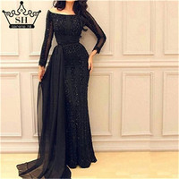 Long Sleeve Black Mermaid Tulle Evening Dress Beading Sequined Evening Gowns Robe De Soiree 2017 Serene Hill