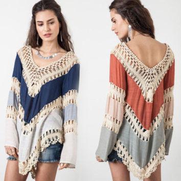 2015 Summer NEW Womens Beach Cover Up Dresses Crochet Bikini Long Sleeve Swimwear Bathing Suit Cover Ups Beach Tunic Top