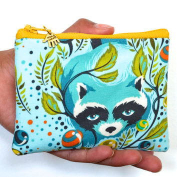 coin purse, change pouch, school supply, id wallet, keychain pouch, credit card holder, key pouch, small gadget pouch - tula pink - raccoon