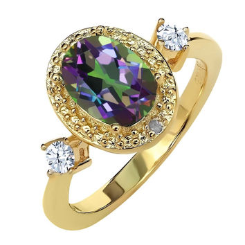 1.71 Ct Mystic Topaz White Created Sapphire 18K Yellow Gold Plated Silver Ring