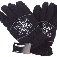 Joe Boxer Womens Black Gloves Silver Snowflake 3M 40g Thinsulate Snow Winter NEW