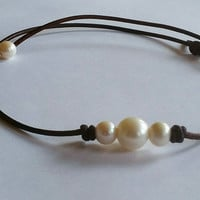 Original Seaside 3 Pearl and Leather Choker! #1 on Amazon. Quality Guaranteed.