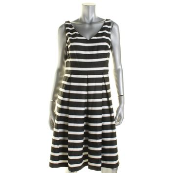 Lauren Ralph Lauren Womens Striped Pleated Skater Dress